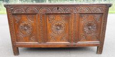 Antique Carved Triple Panel Front Oak Blanket Chest Blanket Chest, Cabinets, Carving, Antiques, Furniture, Home Decor, Closets, Joinery, Homemade Home Decor