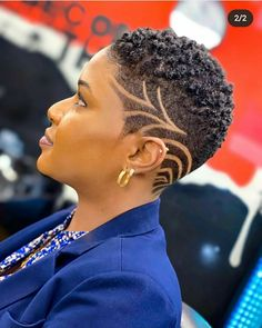 Tapered Natural Hair Cut, Natural Hair Haircuts, Natural Hair Short Cuts, Short Sassy Hair, Short Hair Cuts For Women, Fade Haircut Designs, Short Hair Designs, Shaved Hair Designs, Short Hair Syles