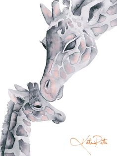 Blush Pink and Gray Giraffe Mom and Baby Print of my original watercolor painting by Katrina Pete. Perfect for a giraffe themed baby shower