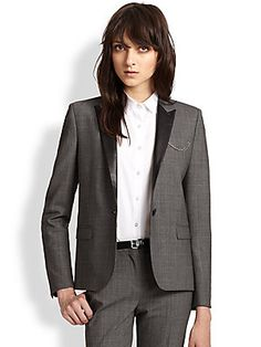 The Kooples Prince de Galles Leather-Trimmed Stretch Wool Blazer
