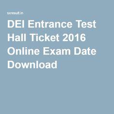 DEI Entrance Test Hall Ticket 2016 Online Exam Date Download