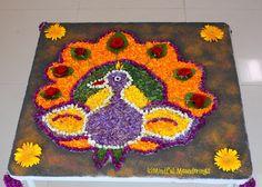 Flowe petal rangoli - Eco friendly rangoli idea - spring - Republic day - Indian national bird