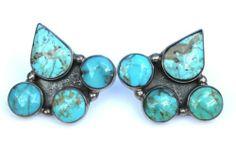 Signed Navajo Sterling Silver Turquoise Pierced Earrings J F Tsinijinnie | eBay