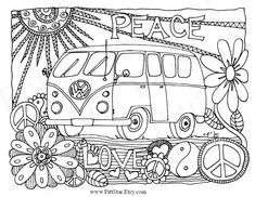 Instant Download - Whimsical VW Van - Adult Printable Coloring Page