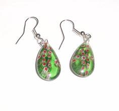 Green  Glass Tear Drop Earrings  Pierced  by ChristieCottage, $6.50