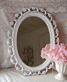 Vintage Chippy White Oval Mirror / Vanity Mirror / by treasured2,