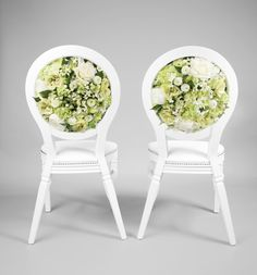 White floral back chairs £65 a chair to hire.