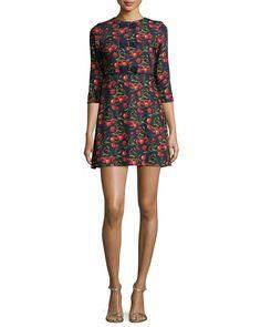 Fyra Cheerful Cherry-Print Dress, Navy, Size: 4/2 (UK 2)