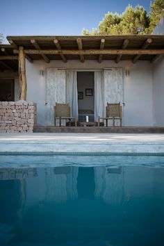 Pool in Formentera. Pinned to Pool Design by Darin Bradbury of BASK Pool Design Outdoor Pergola, Outdoor Spaces, Outdoor Living, Indoor Outdoor, Outdoor Decor, Outdoor Pool, Gazebo, Formentera Spain, Ibiza Spain