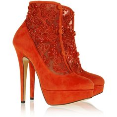 Charlotte Olympia tomato-red Colombina ankle boots. Handmade. Covered heel measures approximately 140mm/ 5.5 inches with a 40mm/ 1.5 inch platform. Suede, mesh…