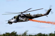 """A Mil Mil Mi-24 """"Hind"""" of the Czech Air Force equipped with smoke generators at RIAT Fairford 2015."""