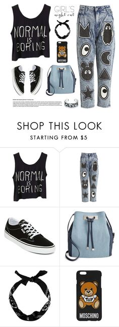 """""""Night out"""" by aneetaalex ❤ liked on Polyvore featuring Mini Cream, Vans, INC International Concepts, New Look, Moschino, Bling Jewelry and girlsnightout"""