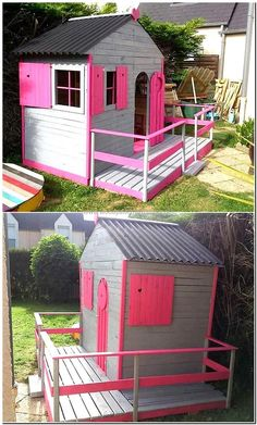 recycled pallets garden playhouse cabin for kids http://smallhousediy.com/category/playhouse-building-tips/