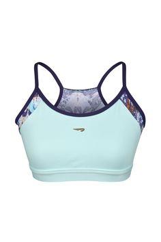 RAINHA NUNUI II F - top com barra aplicada, recortes frontais/costas estampados, alças finas contrastantes e debrum contrastante.