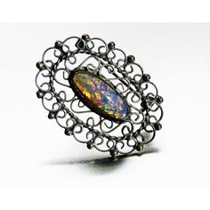 Vintage Signed Foil Opal Harlequin Glass and Sterling Brooch Mexico... ($49) ❤ liked on Polyvore featuring jewelry, brooches, opal brooch, pin brooch, costume jewellery, vintage costume jewelry brooches and glass jewelry