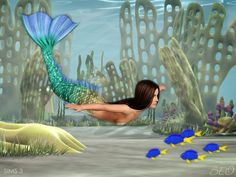 Mermaid tail with three additional fins (two lateral fins and one back fin) for addon Paradise Islands. Tail presented in 3 variants. Recolorable 3 canals. Found in TSR Category 'Sims 3 Female...