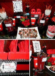 red black white reception | Dulces Clientes- Una fiesta de 16 FASHION ~ Fara Party Design