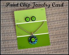 Paint Chip Jewelry Card for Jewelry Style Businesses. Perfect for my jewelry making! Paint Chip Art, Paint Chips, Jewelry Crafts, Handmade Jewelry, Diy Jewelry Cards, Recycled Jewelry, Women's Jewelry, Fashion Jewelry, Craft Fair Displays