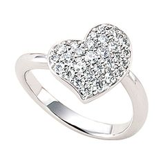 Platinum and diamond heart ring by Ginza Tanaka