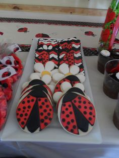 Decorated cookies at  a Ladybug in the Garden Birthday Party!  See more party ideas at CatchMyParty.com!