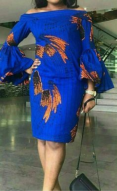 African print dress with flay sleeves/African clothing/African