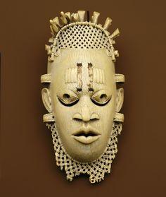 Nigeria;Benin Kingdom peoples Belt mask of Iyoba (Mother of the Oba) Idia ca. 1517 - 1550 Ivory H. 12 cm