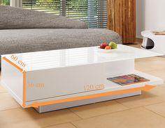 Couch Tisch Weiss Hochglanz Mit Schublade 120x60cm Recht Eckig