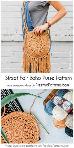 Crochet Street Fair Boho Purse Pattern : Crochet Street Fair Boho Purse Pattern I found a wonderful boho bag for you! The original shape of the wheel makes it fit all your treasures - wallet, glasses, keys, lipstick. Bag Crochet, Crochet Shell Stitch, Crochet Handbags, Crochet Purses, Crochet Clothes, Crochet Gratis, Boho Crochet Patterns, Crochet Bag Tutorials, Crochet Round