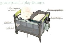 Graco Pack 'n Play Review • The Wise Baby  Supposedly, legs fold down.  Could put the camping trailer table down & place on top?