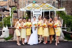 The Secrets of Successful Mismatched Bridesmaids. Love these mismatched yellow bridesmaids dresses. Beautiful!