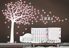 Nursery Wall Decal. Large cherry blossom tree door SurfaceInspired