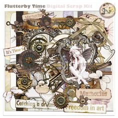 Flutterby Time is a soft yet very unique digital scrap kit, I wanted to create something with my new gears i have, but then somehow got back on the butterfly theme, being oh so creative i have combined the 2 into a most gorgeous collection.