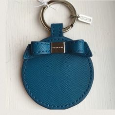 Authentic Coach Keychain Fob NWT Bow Mirror~ Authentic Coach Keychain Ring Fob NWT Teal Bow Mirror Coach Accessories Key & Card Holders