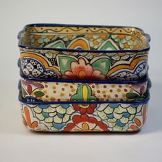 "Need a Mexican talavera baking dish that can go from the oven to serving for those yummy enchiladas or chilequiles? These lovely talavera baking pans are deep (3"") and can accommodate your Mexican cooking needs! Or any baking of any type. All of our ceramics are food safe and can"