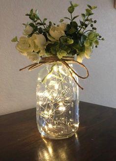 Jar Centerpiece Wedding, Lighted Centerpieces, Wedding Table Decorations, Bridal Shower Decorations, Decor Wedding, Wedding Ideas, Centerpiece Ideas, Flower Centerpieces, Wedding Centerpieces Mason Jars