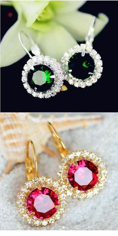 Bright Clear Austrian Crystal Round Pendant With Gold Tone Chain And Floral Stud Earrin 100% Original Jewelry & Watches Jewelry Sets