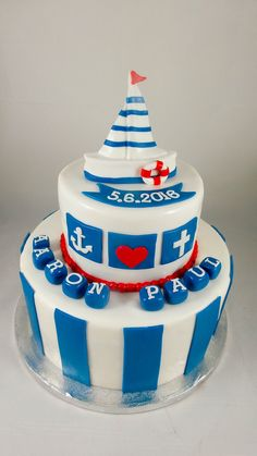 Tauftorte Junge Party Buffet, Cakes And More, Fondant, Sweets, Baby Shower, Baking, Desserts, Inspiration, Boys
