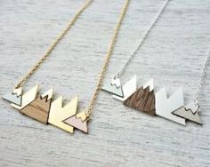 Minimalistic Mountain Necklaces. Wood detail with a splash of color.
