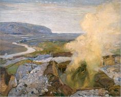 F. H.Varley, future member of the Group of Seven. C 1916. Gas Chamber at Seaford This painting by F.H. Varley, a future member of the Group of Seven, depicts a training exercise in Seaford, England. Description from canadianbattlefields.ca. I searched for this on bing.com/images