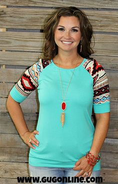 Looks Good On You Aztec Sleeve Top in Jade www.gugonline.com $22.95