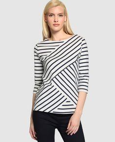 Camiseta de mujer Tommy Hilfiger con manga francesa y estampado de rayas