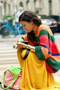 baggie sweater, maxi skirt, just add jewelry and you've got comfy-chic