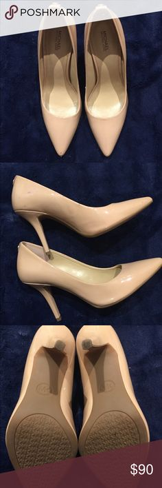 Michael Kors Nude Heels Beautiful Michael Kors Nude Heel definitely one of my faves. Very Comfortable and has about 3-4 inch heels. The shoes does have a couple is snags and discoloration (pictured) but still very beautiful. Michael Kors Shoes Heels