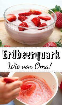 Das schmeckt nach Kindheit: Erdbeerquark! Das #Rezept ist super einfach. #Erdbeeren #Quark