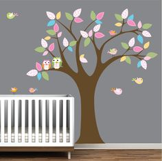 Wall Decals Children Vinyl Wall Decals Nursery Tree Wall Stickers with Pattern Leaves