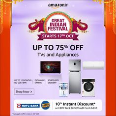 Amazon's Great Indian Festival sale is about to live to get ready to buy your best products at the cheapest price. this is the festival sale starts from 17th Oct and continues, you can save up to 80% on different category items. everybody is a winner in this festival fair sale that suits you. #Amazon #sale #Amazon great Indian sale #Amazon Indian festival sale #save on #big save on Amazon sale #ho to save on Amazon #what is Amazon sale #how to buy on Amazon sale #festival sale #Halloween…