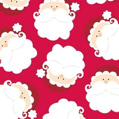 8 feet of Christmas gift wrap with a Santa Claus head design on a red background. Find at DesignDesign.us
