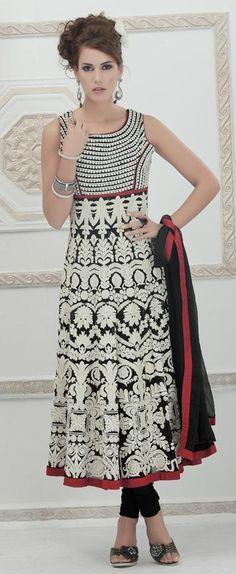 $365.64 Black Faux Georgette Embroidered Anarkali Style Salwar Kameez 23883