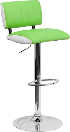 Flash Furniture Contemporary Two Tone Brown & White Vinyl Adjustable Height Bar Stool with Chrome Base