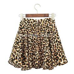 """moda nova"""" bsq188 elegante leopard mini impressão saias plissadas zíper saias designer da marca casual slim qualidade saias US $9.98"""